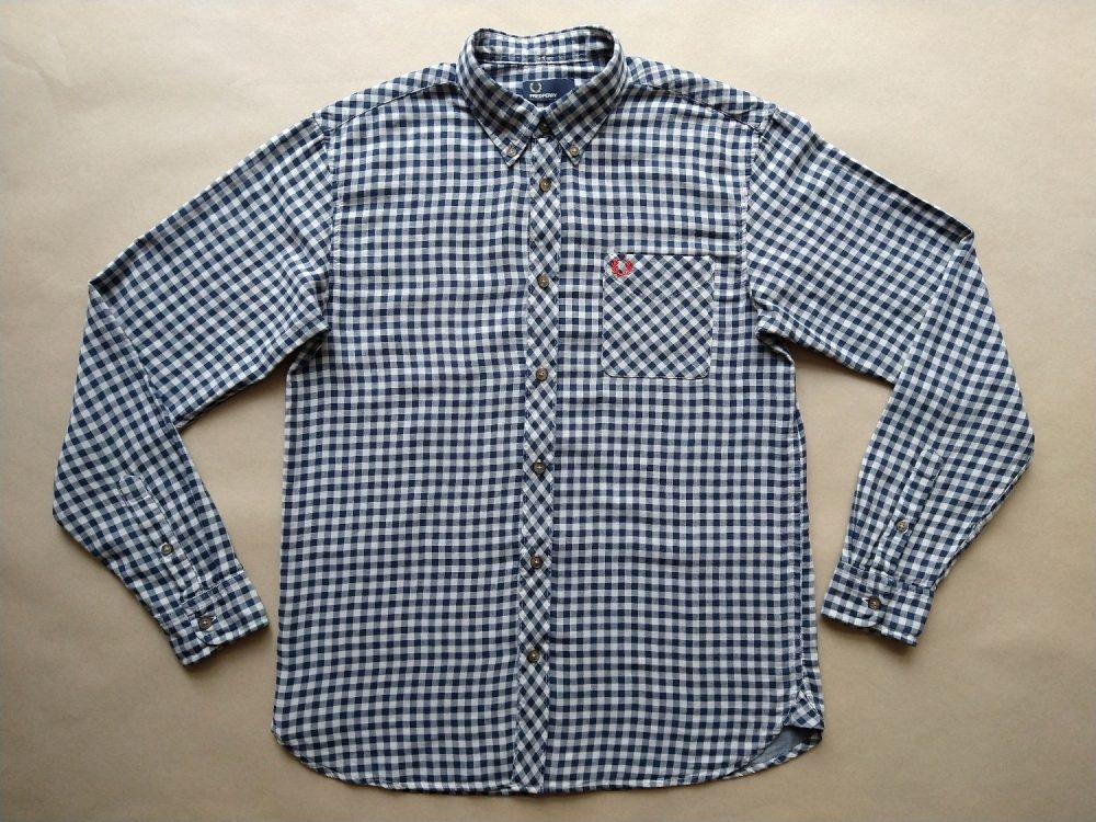 M . Fred Perry . šedo-modrá kostkovaná gingham košile