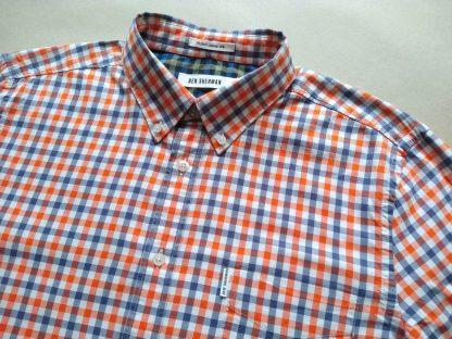 XL . Ben Shermen . oranžovo-modro-bílá kostkovaná gingham košile