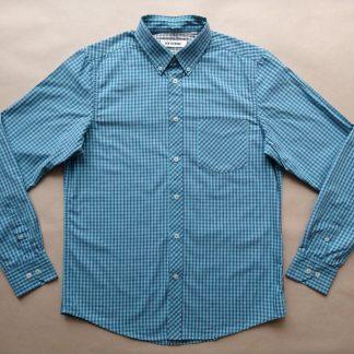 M . Ben Shermen . modro-tyrkysová kostkovaná gingham košile