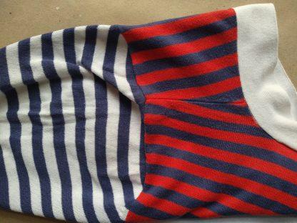 S . Ben Sherman . červeno-modro-bílý pruhovaný cardigan s krátkým rukávem
