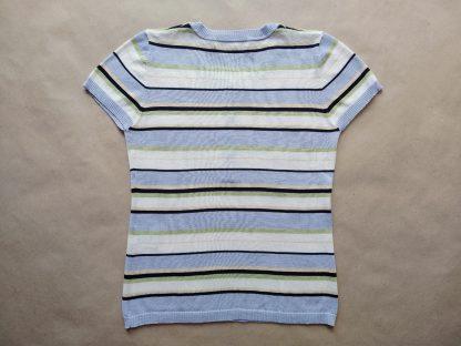 M . Lyle & Scott . pastelový pruhovaný svetřík s krátkým rukávem
