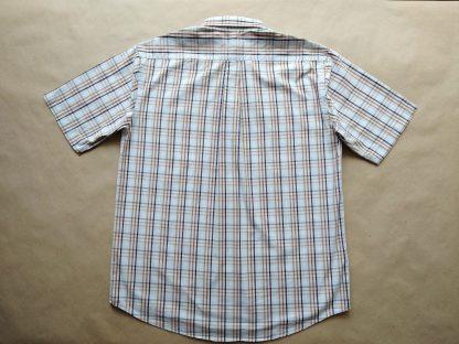 XL . Burlington . hnědo-bílo-světle modrá kostkovaná košile
