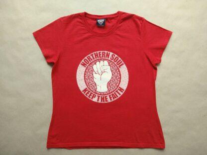 XL . Warrior Clothing . dámské červené tričko s bílým potiskem Northern Soul