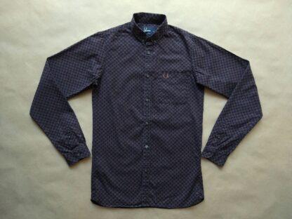 XS . Fred Perry . černá košile s béžovo-vínovým vzorem