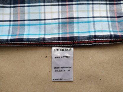 L/XL . Ben Sherman . modro-černo-bílá kostkovaná košile