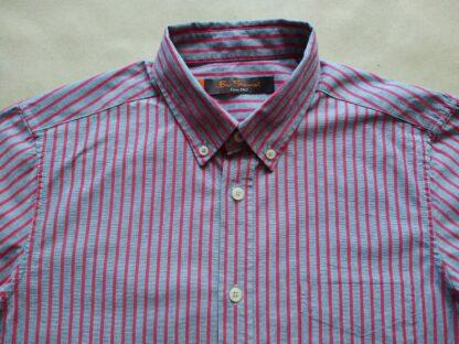 S . Ben Sherman . červeno-šedá pruhovaná košile