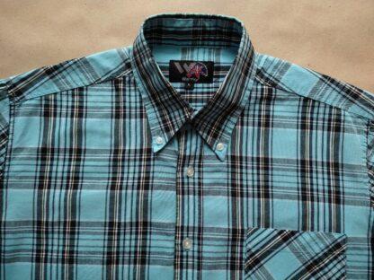 L . Warrior Clothing . světle modrá kostkovaná košile