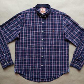 M . Baracuta . bílo-vínovo-tmavě modrá kostkovaná košile