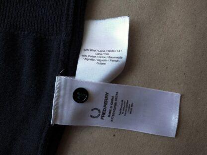 38/40 . Fred Perry . černý cardigan s bílým proužkem