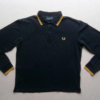 L/XL . Fred Perry . černé polo se žlutým proužkem a s dlouhým rukávem