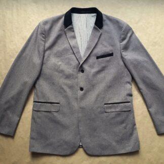 XL . Ben Sherman . šedé sako s černými semišovými detaily