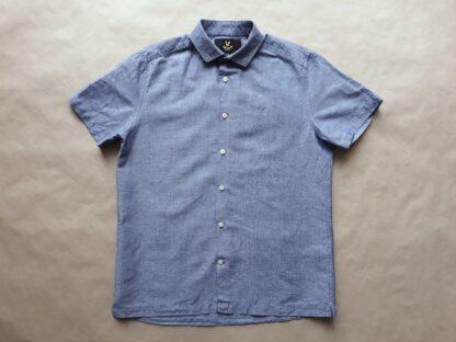 S . Lyle & Scott . světle modrá lněná košile