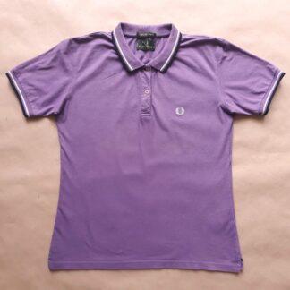 XL . Fred Perry . fialové polo s bílým a tmavě modrým proužkem
