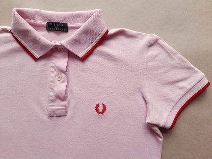 S . Fred Perry . dámské růžové polo s červeným a bílým proužkem