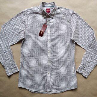 S . Merc . krémová košile s modro-vínovým vzorem