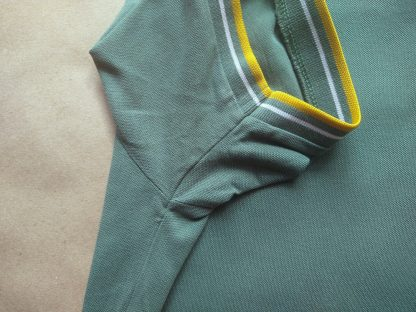 XL . Lambretta . zelené polo se žlutým a bílým proužkem