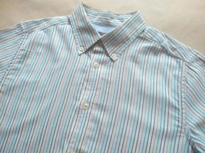 S . Ben Sherman . světlá modro-zeleno-béžová pruhovaná košile