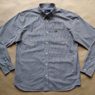 L . Fred Perry . černo-bílá kostkovaná gingham košile
