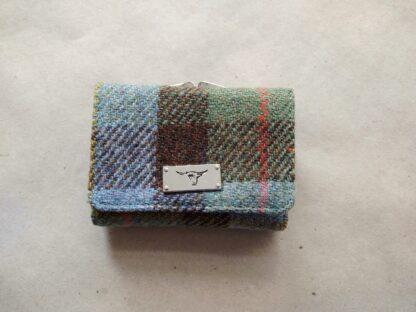 Glen Appin . malá dámská zeleno-modro-hnědá tvídová peněženka