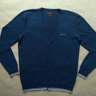 XL . Ben Sherman . petrolejově modrý cardigan s šedým proužkem