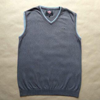 L . Warrior Clothing . šedá vestička se světle modrým a bílým proužkem