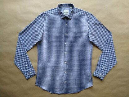 M . Ben Sherman . hnědo-modro-bílá kostkovaná gingham košile