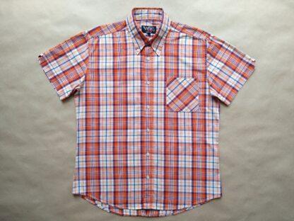 L . Warrior Clothing . oranžovo-vínovo-modro-bílá kostkovaná košile