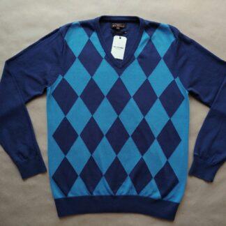 XL . Ben Sherman . modrý károvaný svetr
